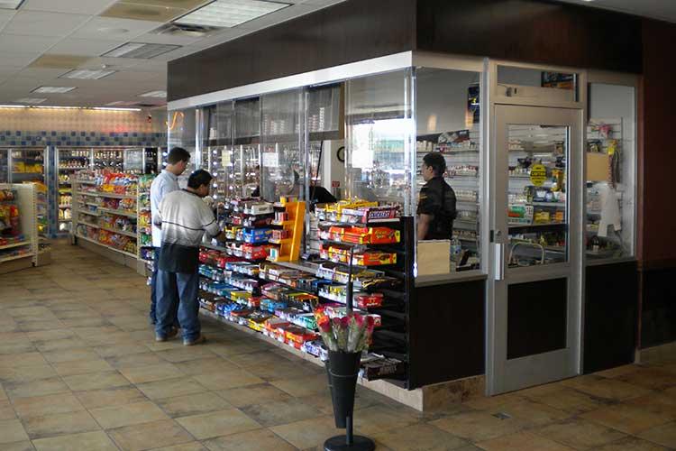 Convenience store bulletproof barrier