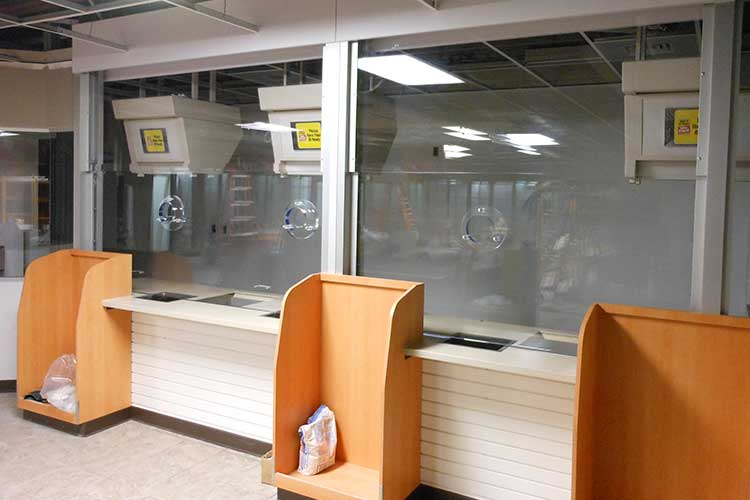 Convenience store bulletproof barrier
