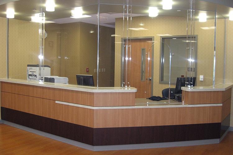 Bulletproof reception desk for a healthcare facility