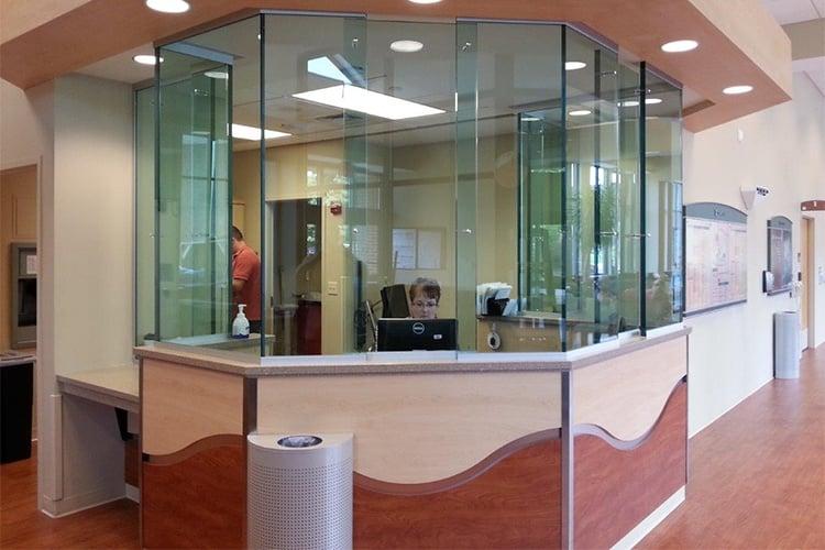 Bulletproof barrier for a healthcare reception desk