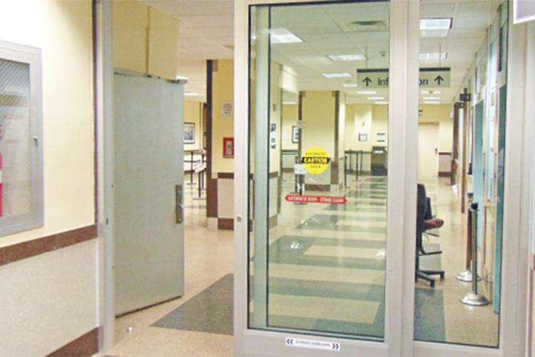 Bulletproof entryway for hospital